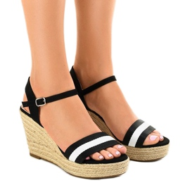 Negru espadrile sandale pantofi 9072
