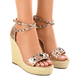 Cupru sandale de piele de pe pene 100-863SC