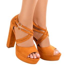 Portocaliu Sandale portocalii pe stiletto din lemn de piele D09