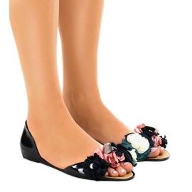 Negru Sandale negre meliski cu flori AE20
