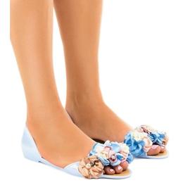 Albastru sandale meliski cu flori AE20