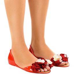 Roșu Sandale roșii meliski cu flori AE20