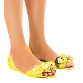 Galben sandale meliski cu flori AE20