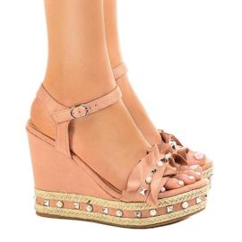 Pantofi roz pe margele de pană 2445