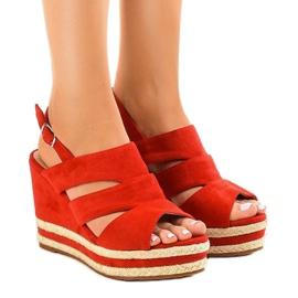 Roșu espadrille FG6 sandale tocuri de toc