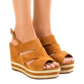 Maro Espadrilă brună FG6 sandale cu pană