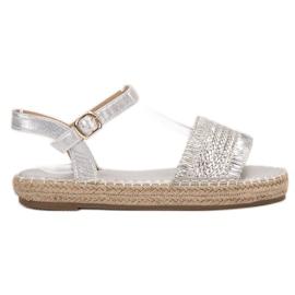 Small Swan gri Espadrile sandale de argint