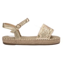 Small Swan galben Sandale de espadrilă de aur