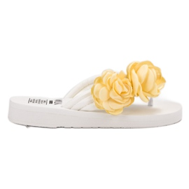 SHELOVET alb Flip-flop-uri cu flori