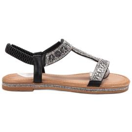 Bello Star negru Sandale negre decorate