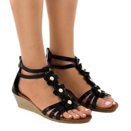 Negru sandale B125 wedge