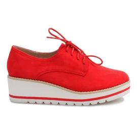 Roșu Pantofi Pe Wedge Jazzówki LM-029 Czerwony