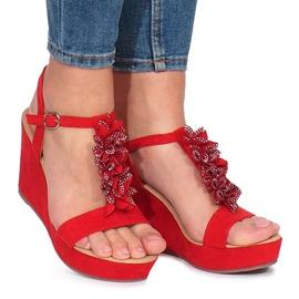 Roșu Sandale roșii pe pană Liris