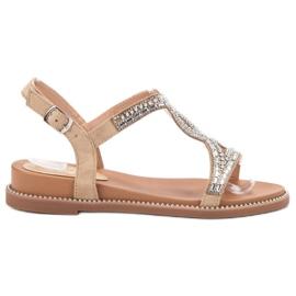Bello Star maro Suede Sandale cu Cristale
