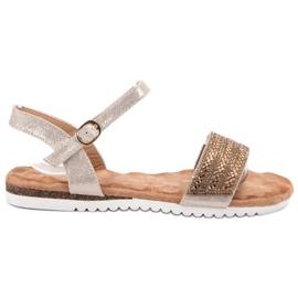 Emaks maro Sandale cu zirconi