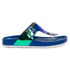 Ideal Shoes albastru Flip-flops cu efect Holo
