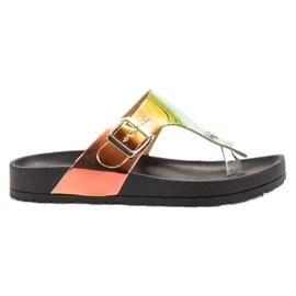 Ideal Shoes negru Flip-flops cu efect Holo