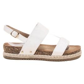 Bestelle alb Sandale cu Brocade