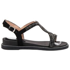 Bello Star negru Suede Sandale cu Cristale