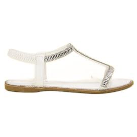 SHELOVET alb Flat sandale cu cristale