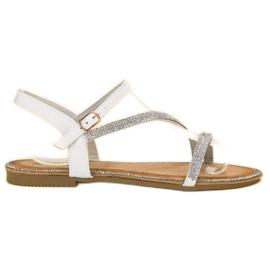 SHELOVET alb Sandale clasice cu zirconi