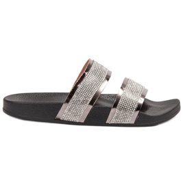 Ideal Shoes gri Papuci de femei cu zirconi