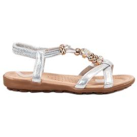 SHELOVET gri Sandale plate cu decoratiuni