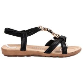 SHELOVET negru Sandale plate cu decoratiuni