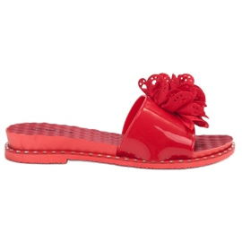 Kayla Papuci roșii din cauciuc roșu