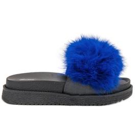 SHELOVET Papuci cu blană albastru