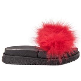 SHELOVET Papuci cu blană roșu
