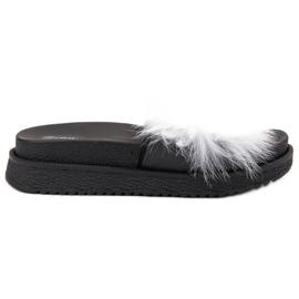 SHELOVET Papuci cu blană alb