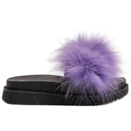SHELOVET Papuci cu blană violet