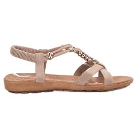 SHELOVET maro Bej Sandale pe Sandale