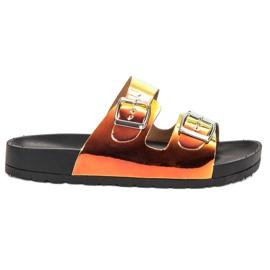 Ideal Shoes galben Papuci cu cataramă Holo