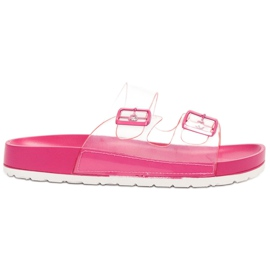 Ideal Shoes Clapetă transparentă Se Buckle roz