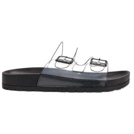 Ideal Shoes negru Clapetă transparentă Se Buckle