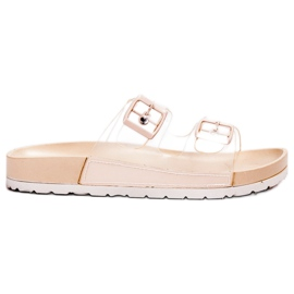 Ideal Shoes Clapetă transparentă Se Buckle maro
