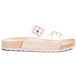 Ideal Shoes maro Clapetă transparentă Se Buckle
