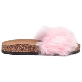 Bona roz Papuci cu blană