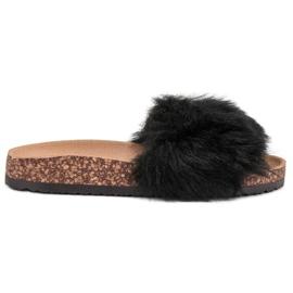 Bona negru Papuci cu blană