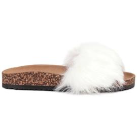 Bona alb Papuci cu blană