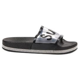 Bona negru Flip Flops transparente