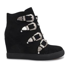 Negru Pantofi din piele neagră cu catarame Maya