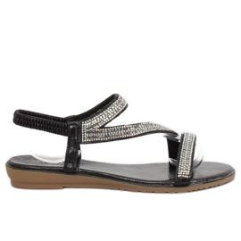 Sandale asimetrice negre KM-33 negru