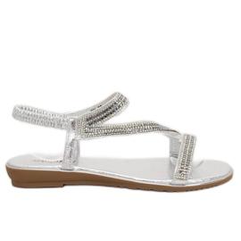 Argint sandale asimetrice KM-33 Silver gri