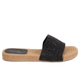 Papuci negre pentru femei JFF-V182 Negru