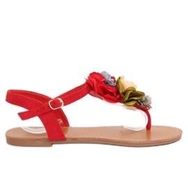 Flip-flops cu flori roșii L518 Roșu