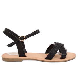 Sandale femei negre și negre WL282 Negru