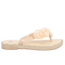 Maro Flip-flops cu flori bej YJL-1818 Beż